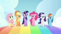 Mane six walking on a rainbow S7E2
