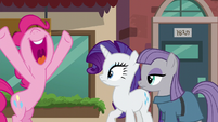 Pinkie Pie about to hug Rarity and Maud S6E3