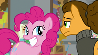 Pinkie Pie grinning wide at Cheese S9E14