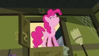 Pinkie Pie standing in Cranky's door frame S02E18