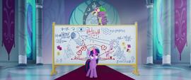 Spike singing on top of Twilight's whiteboard MLPTM