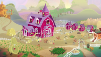 Wide view of Sweet Apple Acres at dawn S9E10