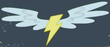 Yellow lightning bolt with wings