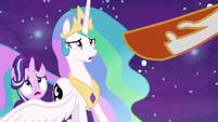 Daybreaker points her hoof at Princess Celestia S7E10