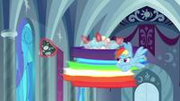 Rainbow Dash flying around Cozy Glow S9E24