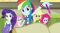 Rainbow Dash holds out a pen to Sunset EG2
