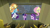 Twilight and friends look down trapdoor S8E7