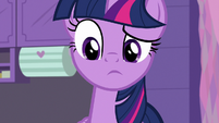 Twilight looks at Fluttershy, Spike, and Smolder S9E9