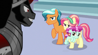 Crystal Ponies glare defiantly at Sombra S9E1