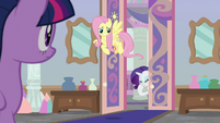 Fluttershy and Rarity enter the office S8E25