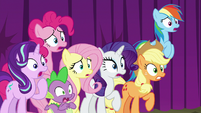 Main ponies and Spike gasping in shock S8E7