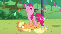 "Pinkie's last ""how""; Pinkie stands on Applejack S5E24"