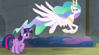 Princess Celestia flying out of the theater S8E7