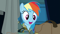 Rainbow Dash opening her locker S6E24