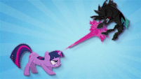 Twilight blasts a changeling with her magic BFHHS1