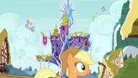 Applejack walking past Castle of Friendship EGSB