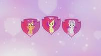 Crusaders on shield cutie mark backdrop S5E18