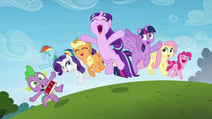 Main cast and Starlight Glimmer jump in happiness S5E26.png