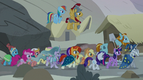 Mane Six and Pillars entering the Hollow Shades S7E26