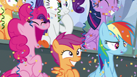 Pinkie, Scootaloo, and Dash showered in confetti S8E20