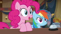 Pinkie Pie asks Mrs. Trotsworth about Daring Do S7E18