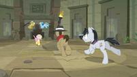 Ponies dash toward the corridor again S9E21