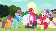 Rainbow Dash being suspicious of Orchard Blossom's true identity S5E17.png