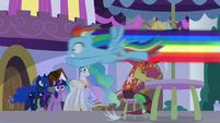 Rainbow Dash flies past Discord S9E17