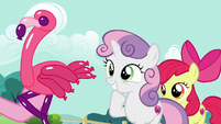 Sweetie Belle being presented a balloon flamingo S5E19