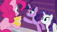Twilight Sparkle pointing at Pinkie Pie S9E14