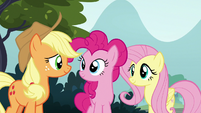 AJ, Pinkie, and Fluttershy look at each other S8E2