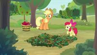 AJ and Apple Bloom hear rustle in the bushes S9E10