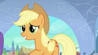 Applejack pushes Rainbow away S3E2
