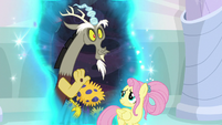 Discord waving to the older Mane Six S9E26