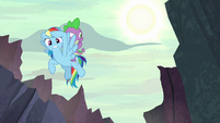 Rainbow Dash and Spike look for Netitus S7E25