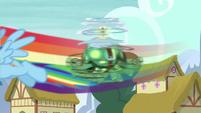 Rainbow flying near Tank S5E5