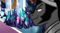 Sombra taunting Cadance, Shining, and Flurry S9E1