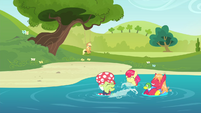 The Apples playing in the water S4E20