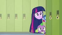 Twilight and Spike poking their heads around a corner EG