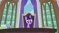 Twilight looks at the Crusaders from her chair S8E12