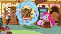 Rainbow Dash flipping in front of Pinkie Pie S8E5