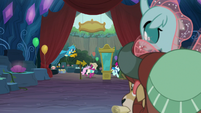 Yona and Ocellus see Gallus chasing customers S9E3