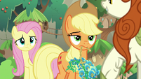 AJ and Fluttershy look unamused at Autumn S8E23