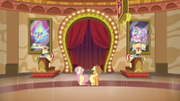 Applejack and Fluttershy talk to Flim and Flam S6E20