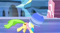 Ms. Peachbottom running terrifiedly away with flowerpot on her head S3E12