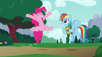 Pinkie Pie leaping in amazement S6E15
