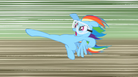 Rainbow Dash about to kick the old barn S2E03