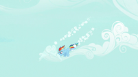 Rainbow Dash gathers clouds out of the sky S7E19