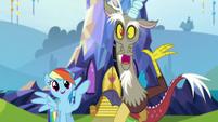 Rainbow and Discord greet Twilight S5E22