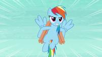 Rainbow flying with hooffuls of wood S8E9